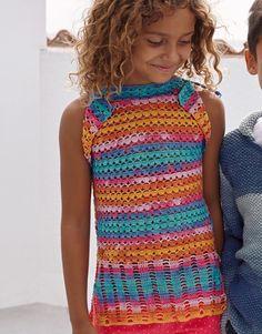 Tijdschrift Kinderen 77 Lente / Zomer | 36: Kinderen Topje | Oranje-Bleekrood-Turquoise
