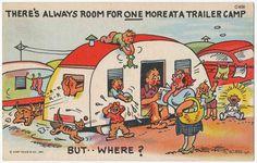 """Always Room for One More"" Travel Camper Trailer Vintage Comic Postcard | Collectibles, Postcards, Comic | eBay!"