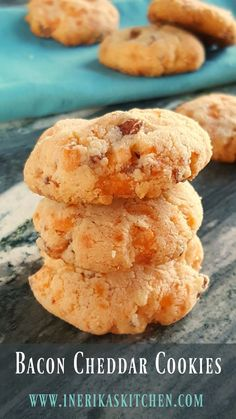 Bacon Cheddar Cookies are a savory, low carb, gluten free treat to go with wine, champagne or cocktails. Perfect for anyone who avoids sugar and artificial sweeteners and prefers savory treats to sweet ones. Gluten Free Treats, Gluten Free Cookies, Gluten Free Desserts, Gluten Free Recipes, Low Carb Recipes, Healthy Cookies, Ketogenic Recipes, Healthy Recipes, Appetizer Recipes