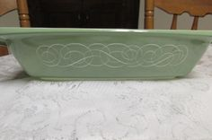 Fab find Vintage RARE PYREX GREEN WHITE SCROLL Oblong 2 1/2 QT Casserole Dish 055 #Pyrex Sold $306.99