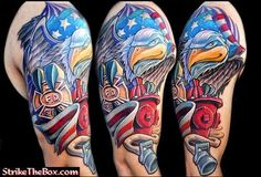 This tribute to American firefighters has some truly original artwork. #InkedMagazine #FDNY #FireFighter #eagle #flag #tattoo #tattoos