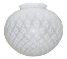 Vianne White Diamond Satin Glass Light Shade. Perfect for Ceiling, Fan, Pendant or Wall Sconce Light Fixture, Swag Lamp, or Art Deco Figural Radio and Accent Table Lamps.