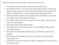 Banned Christmas gifts at the bat house