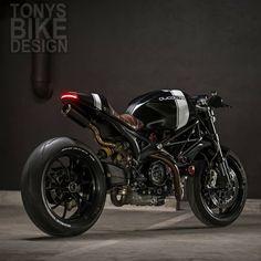 Ducati Monster built by Tony's bike design. Ducati 796, Ducati Cafe Racer, Ducati Scrambler, Cafe Racer Bikes, Cafe Racer Build, Cafe Racer Motorcycle, Cafe Racers, Moto Ducati, Moto Bike