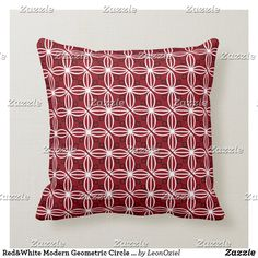 Shop Red White Modern Geometric Circle Pattern Throw Pillow created by LeonOziel. Red Throw Pillows, Decorative Throw Pillows, Geometric Circle, Circle Pattern, Repeating Patterns, Custom Pillows, Red And White, Modern, Fabric
