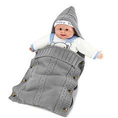 XMWEALTHY Newborn Baby Wrap Swaddle Blanket Knit Sleeping Bag Sleep Sack Stroller Wrap for Baby(Dark gray) (0-10 Month) - $9.99