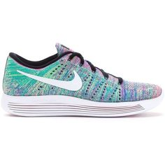 Nike 'Lunarepic Flyknit Low' sneakers ($260) ❤ liked on Polyvore featuring shoes, sneakers, white, flyknit shoes, multicolor sneakers, multi color sneakers, low sneakers and nike sneakers