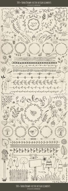"Hand Drawn ""Woodland Whimsy"" Vector Graphics Design Elements                                                                                                                                                                                 More"