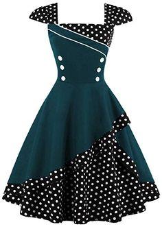 6efca748ece Women s Polka Dots 1950s Vintage Swing Tea Party Dress-S at Amazon Women s  Clothing store