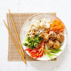 Turkey Meatballs And Udon Noodle Bowl - Madeleine Shaw