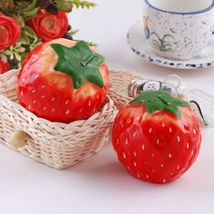 It's a strawberry style candle not a fruit which could burn for 12 hours, so you can eat it! The size is 7x6x5cm and smells like strawberry, a big strawberry! There are two strawberry candles in each