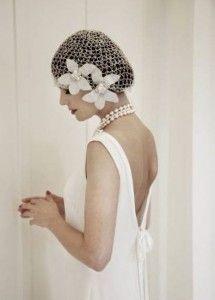 casquete de red con flores años 20