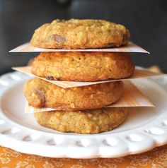 Pumpkin Oatmeal Chocolate Chip Cookies -- from Jamie Cooks It Up!
