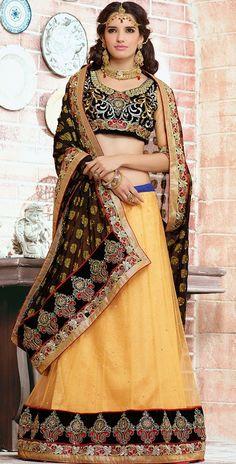 USD 60.62 Black Net Wedding Lehenga Saree 43743