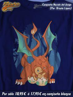 """""""Nacido del fuego"""" Buenos días y #FelizJueves! Dicen que el nacimiento de un hijo es lo más bonito que te puede pasar en la vida. Mamá #Charizard nos lo demuestra con su pequeño #Charmander acabado de salir del cascarón. #Camisetas #Fanisetas #Pokémon #Charmeleon #Videojuegos #Anime #Manga http://www.fanisetas.com/camiseta-nacido-del-fuego-p-6075.html"""