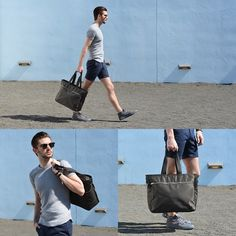 Porter Nylon Bag, Frank & Oak Shorts, Wings + Horns Tee, Volley Sneakers