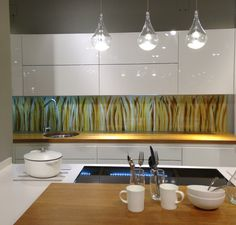 This splashback in our Barley design is on display at John Lewis in Milton Keynes. Looks gorgeous with glossy white cabinets and the wooden work surface. Milton Keynes, Splashback, Work Surface, White Cabinets, Looking Gorgeous, John Lewis, Display, Glass, Kitchen