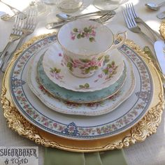 I LOVE mismatched fine china.  So much prettier than a matchy-matchy collection.