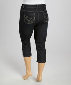 Another great find on #zulily! Black Embellished Capri Jeans - Plus #zulilyfinds