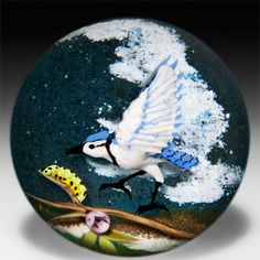 "L. H. Selman Glass Paperweights  -  Jim D'Onofrio 2007 ""Blue Jay and Caterpillar"" compound paperweight"