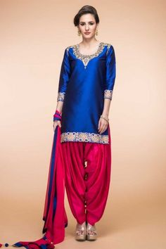 Blue Silk And Taffeta Patiala Suit With Dupatta - 1802