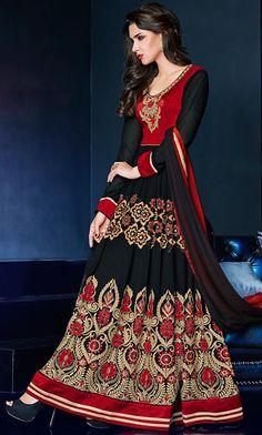 USD 68.33 Black Georgette Floor Length Anarkali Suit 42622