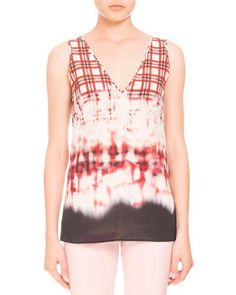 ALTUZARRA BLEACHED PLAID SLEEVELESS V-NECK BLOUSE, SCARLET. #altuzarra #cloth #