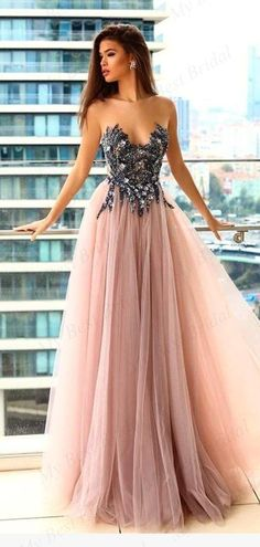 66d07343e300 Sweetheart A-line Bead Pink Tulle Evening Dresses ,Cheap Prom Dresses, –  mybestbridal