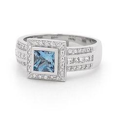 Luxury Aquamarine & Diamond ring set in White Gold. White Gold, Jewels, Luxury, Diamond, Rings, Jewerly, Ring, Diamonds, Jewelry Rings