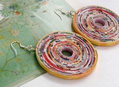 Upcycled paper earrings... plus other paper things from this link