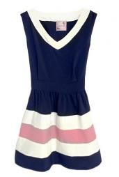 Playful Kiss Color Block Dress in Navy/Pink