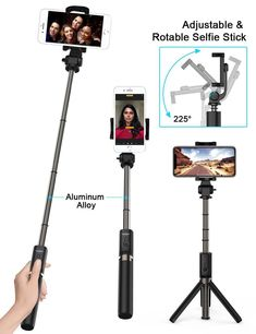 Samsung and so on Wrist Strap Included Cell Phone Holder with Adjustable Clamp for Selfie Stick Monopod Compatible with iPhone Universal Phone Tripod Mount Adapter with Bluetooth Camera Remote