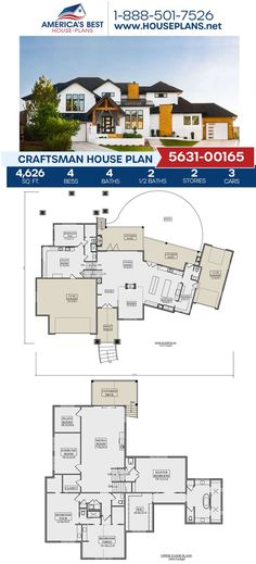 Plan 5631-00165 is the Craftsman house of your dreams! This design offers 4,626 sq. ft., 4 bedrooms, 4 bathrooms, 2 half bathrooms, an excercise room, a media room, and a music room. Learn more details about this Craftsman design on our website today. Craftsman Style Homes, Craftsman House Plans, Architectural Elements, Natural Materials, Square Feet, Art Decor, Dreaming Of You, Floor Plans, House Design