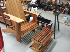 Adirondack chair and footstool.