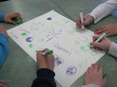 Students were placed into four mixed-ability groups and each group was given the same colour marker. Each group was given a poster with a fraction on it. They then had three minutes to write everything they knew about that fraction on the poster. This activity is also sometimes called a GRAFFITI ACTIVITY (or CHALK TALK). When the 3 minutes finished, the postersmoved to the next group, until each group had a chance to write on each poster. We then shared our posters at the end of the lesson.