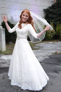 Custom wedding dress from Bridal Secrets (if too expensive, look for a wedding dress rental company). Wedding Dresses Lds, Colored Wedding Gowns, Western Wedding Dresses, Custom Wedding Dress, Gorgeous Wedding Dress, Bridal Dresses, Wedding Dress Gallery, Modest Dresses, Marie