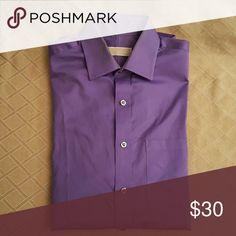 Michael Kors Mens Dress Shirt 14 1/2 32-33 LS Michael Kors Classic purple button down dress shirt. Size 14 1/2 neck, 32-33 sleeve. Like new, excellent condition. Authentic designer, Original owner and purchaser. Machine wash. Michael Kors Shirts Dress Shirts