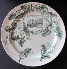 Aesthetic Movement Plate Staffordshire Hughenden Castle Manor Green Antique