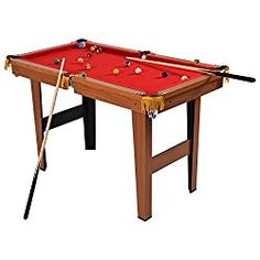 Goplus Mini Pool Table Tabletop Billiard Game Set w/Cues Balls and (Red - 11 Mini Pool Table for Kids Options That Provide Hours of Fun Pool Table Games, Pool Games, Table Set Up, Large Table, Miniature Pool Table, Buy A Pool, Homemade Board Games, Billiards Game