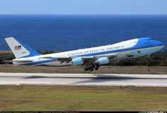 USA-Air Force Boeing VC-25A (747-2G4B). Known as Air Force One if the  President is on board. Here at Curacao.   Photographer Roger Cannegieter - Curacao Aviation Photography