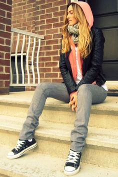 Awesome look complete with leather jacket and Converse Chucks, LOVE!
