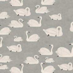 Neutral Grey Swan Wall Mural | Little Crown Interiors Damask Wallpaper, Nursery Wallpaper, Designer Wallpaper, Pattern Wallpaper, Swan Painting, Nursery Neutral, Little White, Wall Treatments, Grey Walls