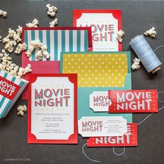 Free Printable Invitations for Your Next Outdoor Movie Night- Upgrade your movie night party by inviting your friends and family in style with one of our two types of free printable invites! Backyard Movie Night Party, Movie Theater Party, Outdoor Movie Party, Outdoor Movie Nights, Movie Party Invitations, Birthday Invitations, Movie Night For Kids, Family Movie Night, Free Printable Invitations