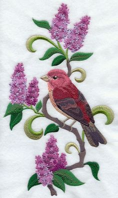 NEW HAMPSHIRE PURPLE Finch & Purple Lilac by AzEmbroideryBarn