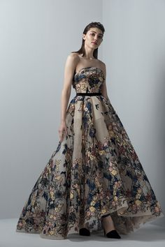 eed653acc297 Buy the 3364 Floral Strapless Evening Gown by Saiid Kobeisy at  CoutureCandy.com