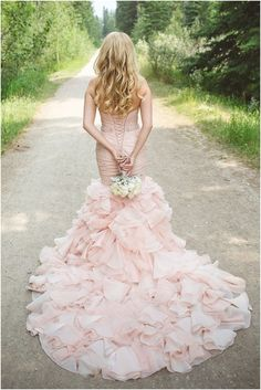 Blush Wedding Dress | Photo by Janine Deanna via The Bride Link http://boards.styleunveiled.com/pin/1721f00a322cee1c00c5703f21b6cf18