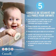 Les parcs offrent un excellent moyen d'assurer la sécurité de vos enfants lorsqu'ils jouent. Jetez un coup d'œil à ces conseils pour assurer la sécurité de votre enfant :  http://canadiensensante.gc.ca/kids-enfants/infant-care-soins-bebe/playpens-parcs-fra.php?utm_source=pinterest_hcdns&utm_medium=social&utm_content=Sept16_safeplaypen_FR&utm_campaign=social_media_14