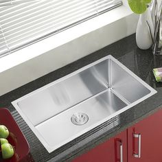 THIS IS THE SINK I WANT;   Water Creation SS-U-3018B 30 x 18-inch Single Bowl Stainless Steel Hand Made Undermount Kitchen Sink with Coved Corners - Overstock Shopping - Great Deals on Water Creation Kitchen Sinks;