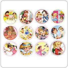 """1"""" Little Girls Vintage Tags - Click Image to Close"""