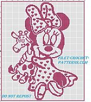 Filet crochet baby blanket with Disney baby Minnie with giraffe Baby Blanket Crochet, Crochet Baby, Cross Stitch Patterns, Crochet Patterns, Charts And Graphs, Filet Crochet, Baby Disney, Pixel Art, Giraffe